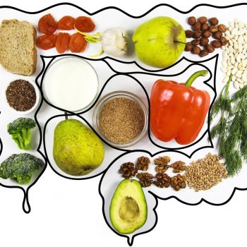 Food for bowel Health. Kefir, Bifidobacteria, greens, apples, fiber, dried fruits, nuts, pepper, whole bread, cereals broccoli flax seed isolate on a white background